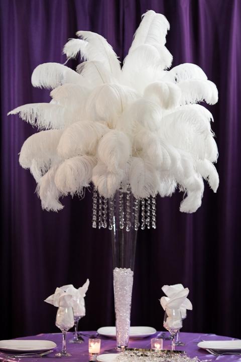 Ostrich feather centerpiece rental amore decor