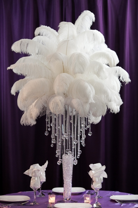 Ostrich feather centerpiece rental amore decor